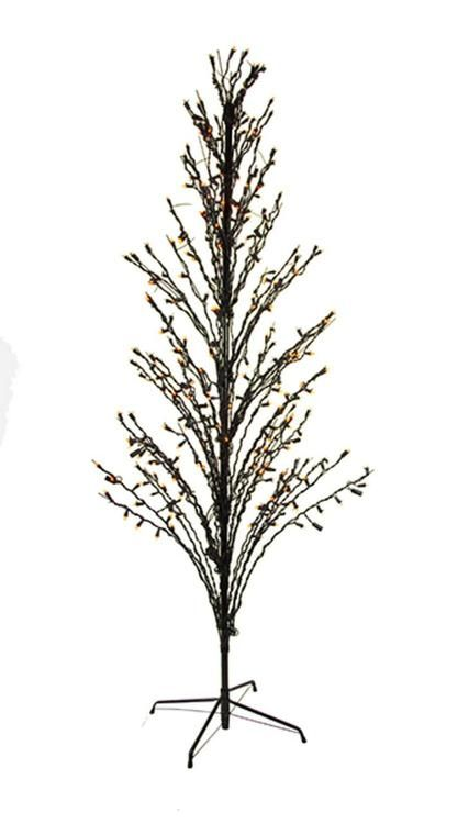 4' Orange LED Lighted Halloween Cascade Twig Tree Outdoor Yard Art Decoration