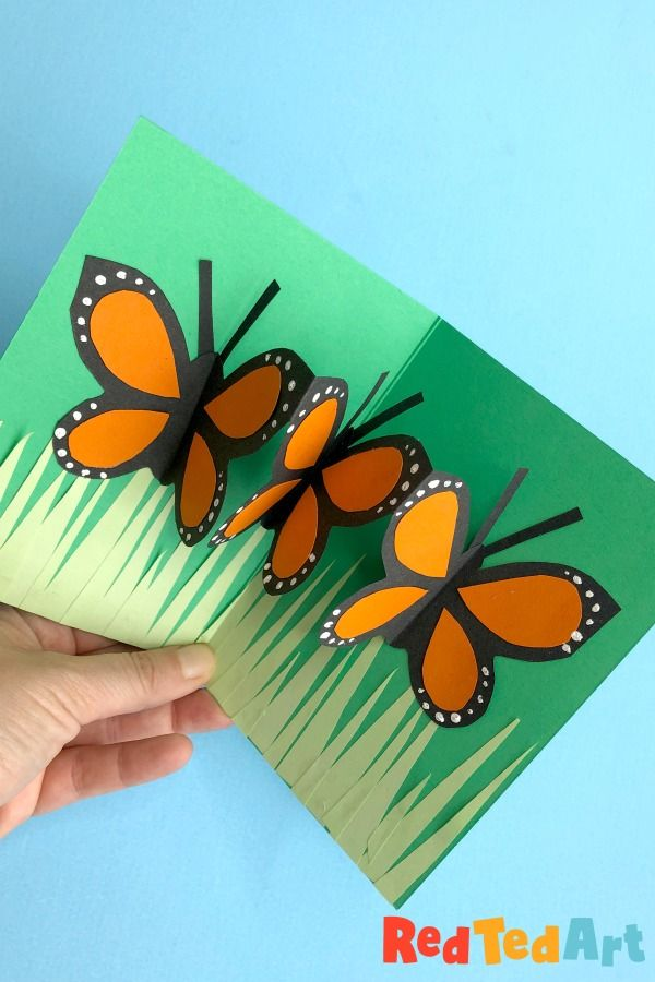 Easy Pop Up Butterfly Card Red Ted Art Make Crafting With Kids Easy Fun Diy Pop Up Cards Butterfly Cards Cards Handmade