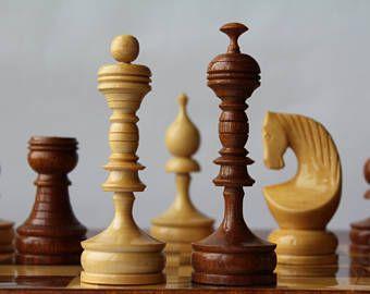 Soviet chess set, vintage chess set USSR, wooden chess set.