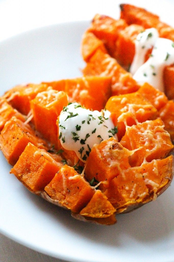This is the easiest (15 minutes and done) and most delicious way we have found to enjoy a sweet potato!