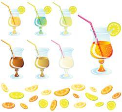 Коктейль лимонный ломтик векторный бесплатно