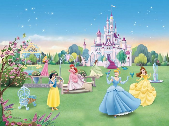 Castle murals for girls bedrooms room with disney for Disney princess wall mural