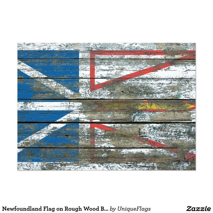"Newfoundland Flag on Rough Wood Boards Effect 5"" X 7"" Invitation Card"
