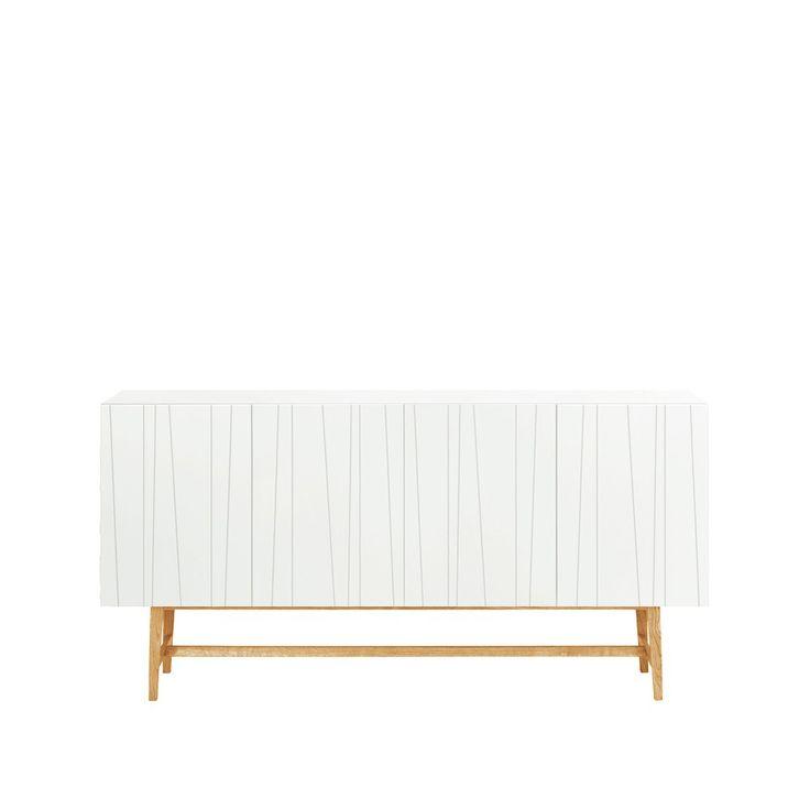 Vass sideboard, 180 cm - vit, ben i vitlaserad ek, höjd 92 cm