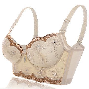 bbaae57aa3b41 Hot Sexy Push Up Lace Gather Tourmaline Padding Adjustable Embroidered Bras  - NewChic Mobile.
