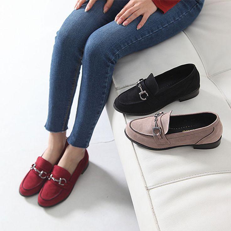 Made In Korea Womens Metal Point Belt Buckle Slip On Loafer Suede Shoes Low Heel #DeamTree #LoafersMoccasins #WeartoWork