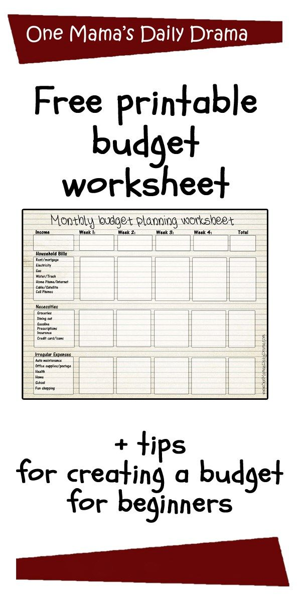 Free printable budget worksheet + how to create a monthly budget for beginners | One Mama's Daily Drama