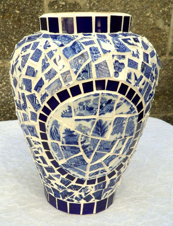 Blue Willow Mosaic Flower Vase by Mosaicsmadewithlove on Etsy, $85.00