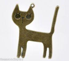 10 Bronze Tone Cat Charm Pendants 45x37mm