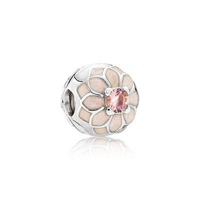 PANDORA | Dahlia silver clip with blush pink crystal and cream enamel