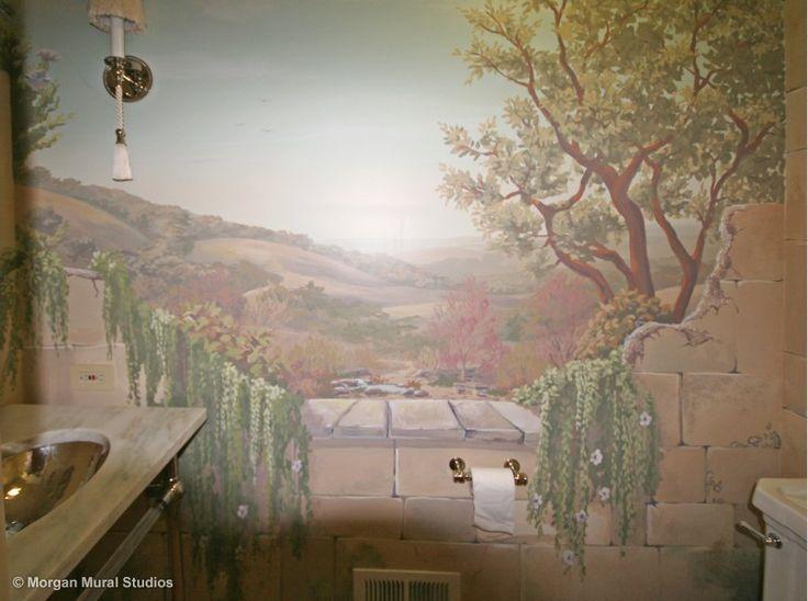 Soft California Landscape With Natural Stone Wall Custom Bathroom Mural.  #bathroommuralidea