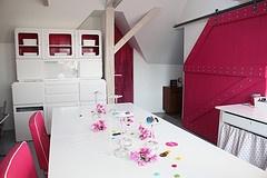 pink barn door in my studio