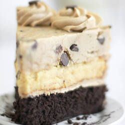 Chocolate chip cookie dough, cheesecake, and devils food cake in one