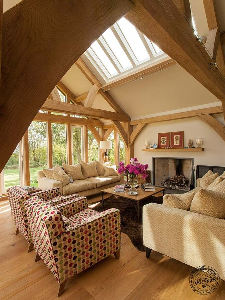 Garden room with Exposed Oak Brace and Queen Post Truss Frame