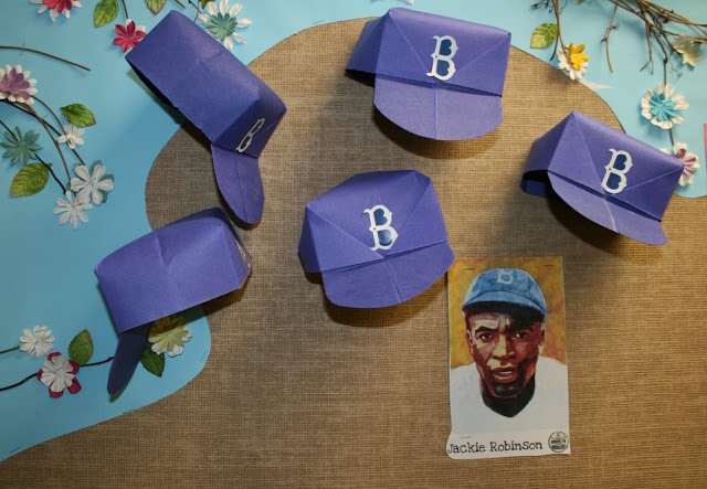 Making Baseball Caps in celebrations of Black History Month - Jackie Robinson - PreK