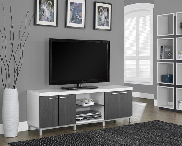 """Monarch Specialties Entertainment Stand I 2591 White / Grey Hollow-Core 60""""L Tv Console. Best Price. Free Shipping."""