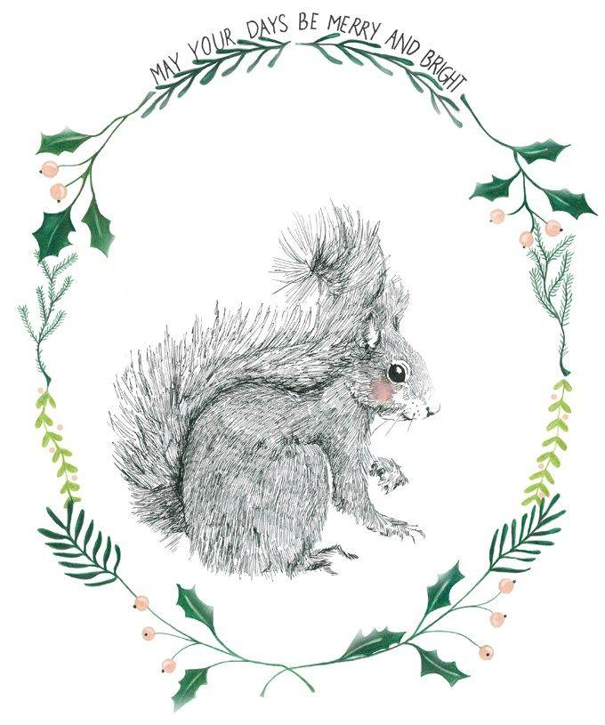Christmastcard illustrated by 'de Wereld van Martine' seen on HappyMakersBlog.com