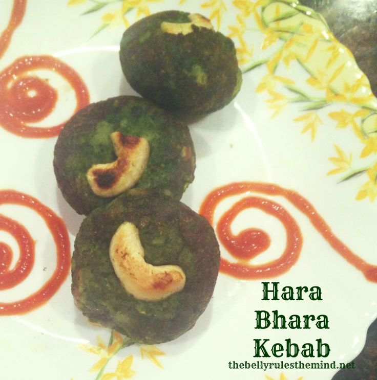 Hara Bhara Kebab / Green Veggie Patty made of Spniach, Peas, Bell Peppers and Potatoes. These patties are made in an Appe Pan.