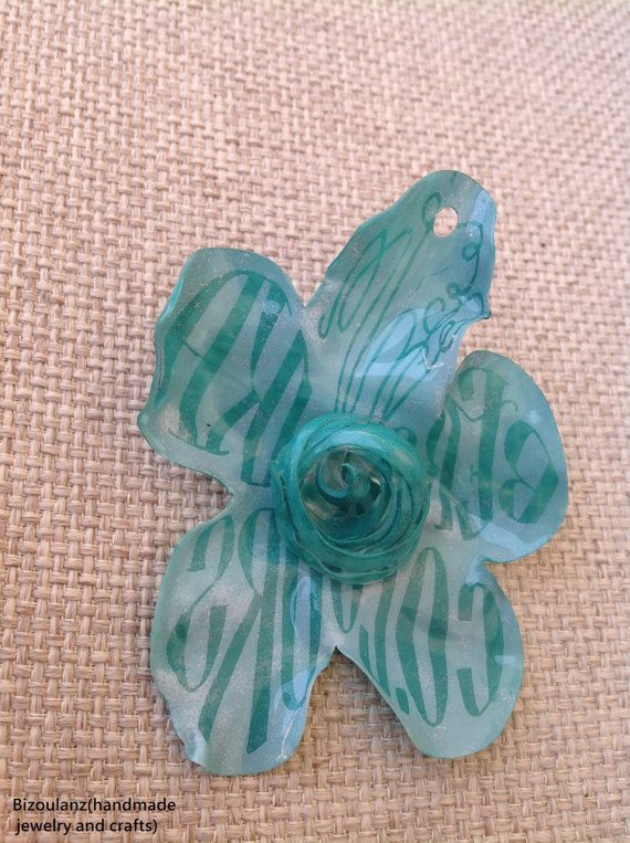 Teal plastic flower brooch with letters,recycled/upcycled plastic eco friendly jewelry,can wear on clothes and necklace by bizoulanz greece