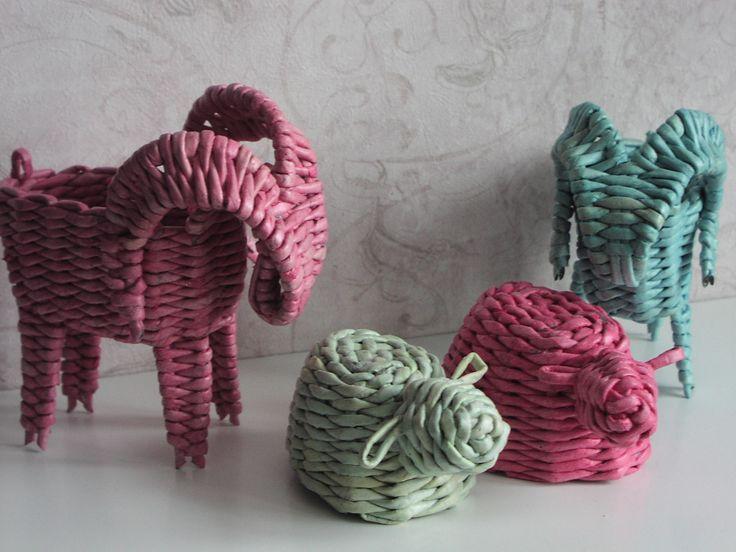 Козлики и овечки. Плетение из газет. Мои работы