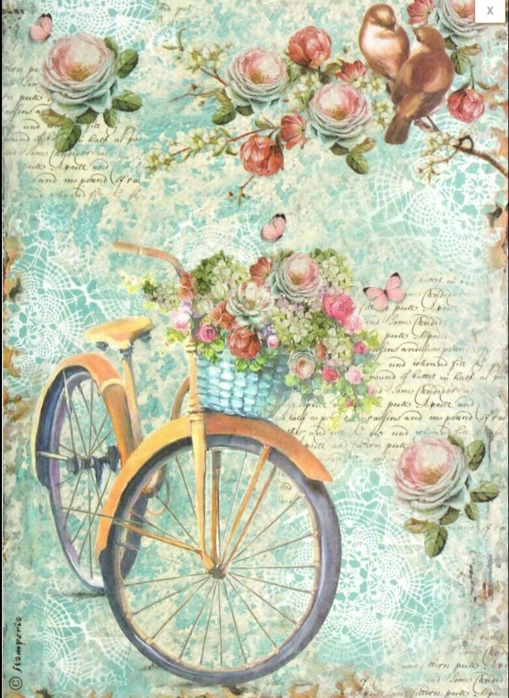 Bike with basket of flowers, birds among the roses.