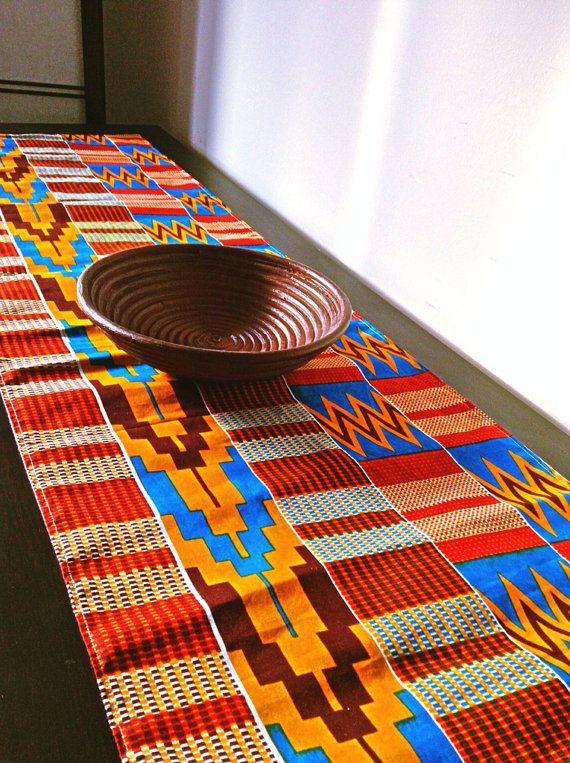 Brick red kente African print table runner by BespokeBinny on Etsy, £12.00
