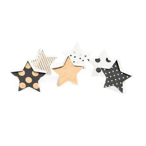 6er-Set sternförmige Namensschildhalter GRAPHIK aus Porzellan