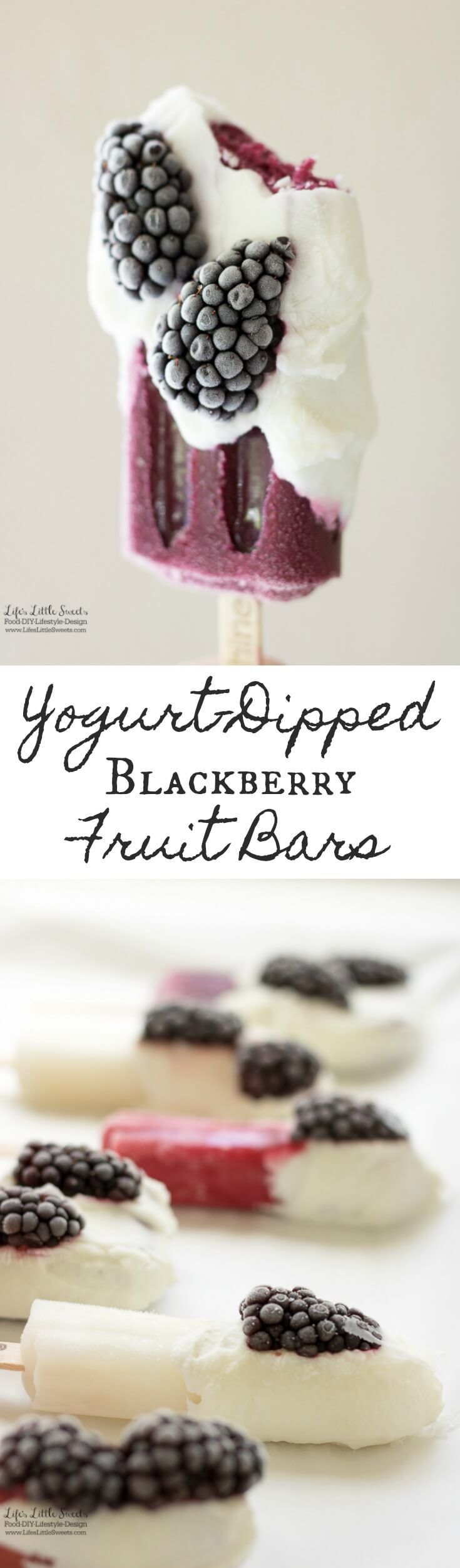 These Yogurt-Dipped Blackberry Fruit Bars are the perfect snack after a meal or between meals. They are made with blackberries, Greek yogurt and Outshine® Fruit Bars. #SnackBrighter #ad