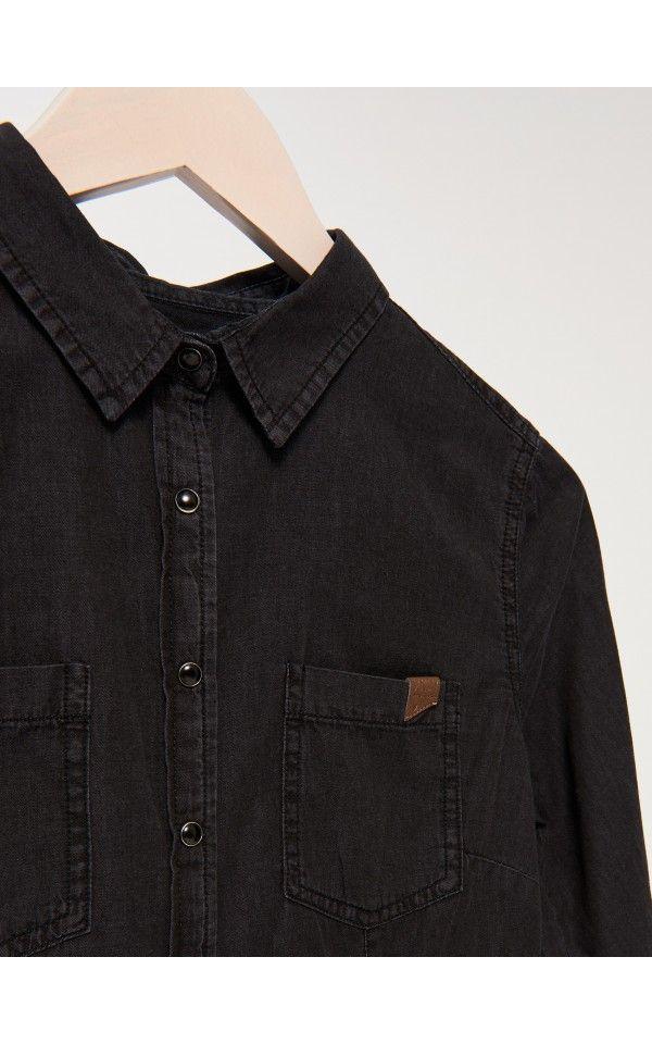 Jeansowa koszula na napy, KOSZULE, czarny, SINSAY