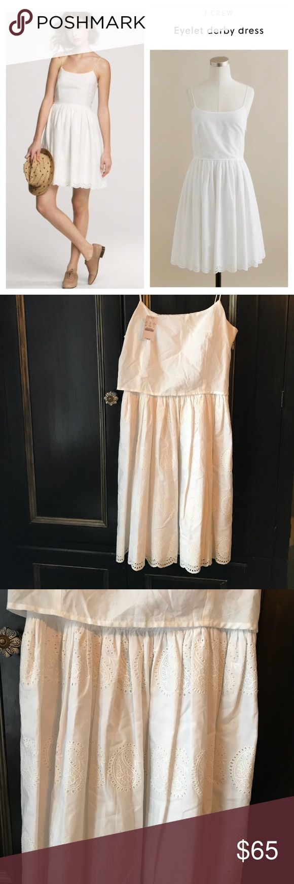 "JCrew eyelet derby dress white 100 cotton This dress is super cute - is the eyelet derby dress by JCrew - look classy and pretty even in warm weather- 100 cotton and lined in 100 cotton- very breathable - approx measurements length 36 bust 32"" - side zipper J. Crew Dresses"