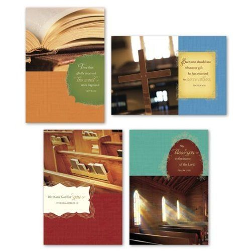 "Faith and Fellowship - Scripture Greeting Cards-Mixed Bible Versions - Church Occasions by DaySpring. $4.49. One design each to express your thanks for ministry, welcome to church, congratulations on baptism and ""missing"" you at our fellowship. A useful tool for communicating and connecting with the body of Christ.  $22.00 Value!  Mixed Scripture Text  Card 1: Cover: They that gladly  received his word  were baptized. Acts 2:41  Inside: Celebrating your  increasing love..."