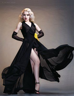 Dark beauty magazine black dress