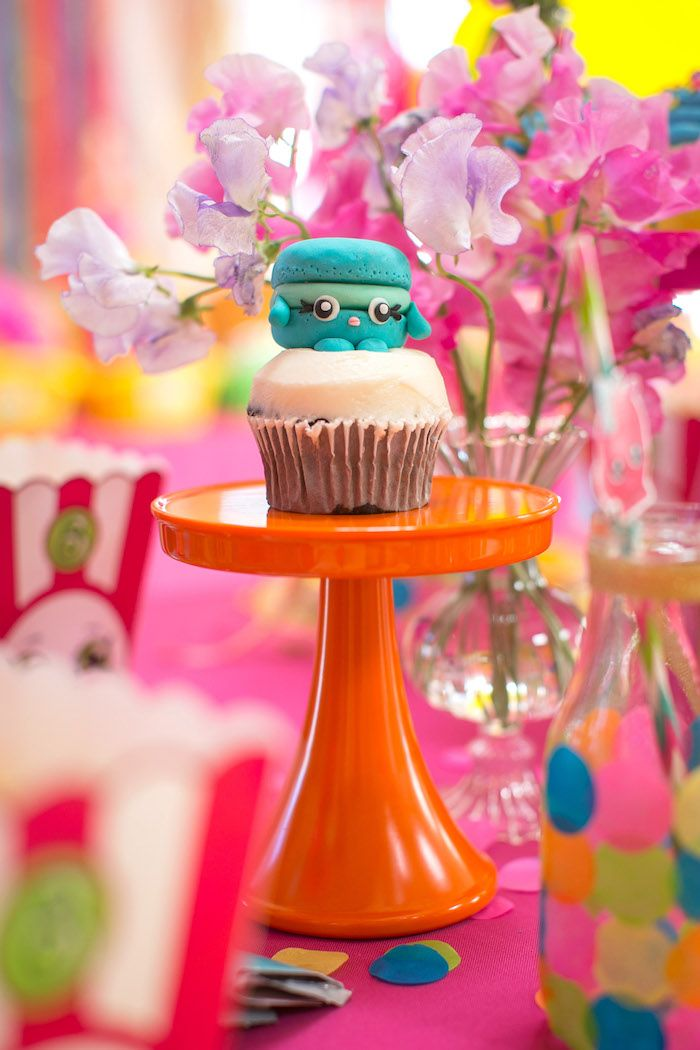 Macca Roon Cupcake from a Floral Shopkins Birthday Party on Kara's Party Ideas | KarasPartyIdeas.com (34)