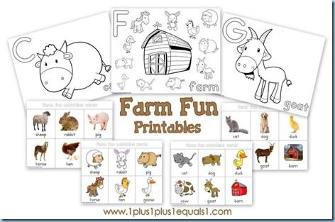 Farm Fun Printables - Coloring pages and memory game cards!  Thanks @Carisa {1plus1plus1}!