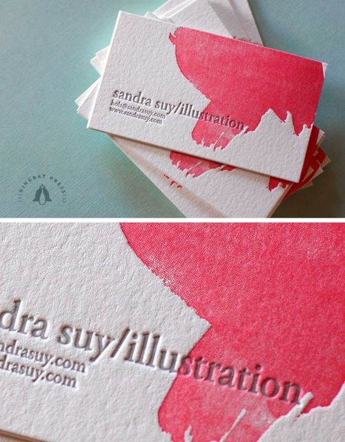 "Watercolor / Letterpress business cards - maybe you can get the ""watercolor"" design pressed into the card along with your text?"