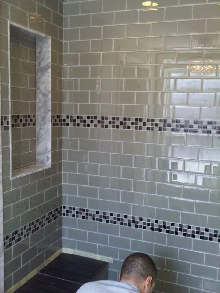 Endearing Glass Tiles Bathroom Ideas with Sage Green Color Subway Glass Tiles Shower Wall and Black Gray Colors Mosaic Pattern Glass Tiles Horizontal Wall List