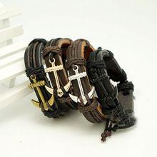 Unisex Pu corda de couro tecido pulseira pulseira para homens mulheres âncoras pulseira masculina de cadeia de cintura(China (Mainland))