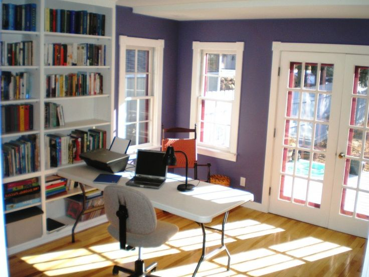 Home Office In Living Room Office Decorating Office Room Ideas Purple Wall White Desk Chair Very Small Home Office Ideas Office Home Office Outbuilding Ideas. Hidden Home Office Ideas. Home Office Organization Ideas Blog. | tikilynn