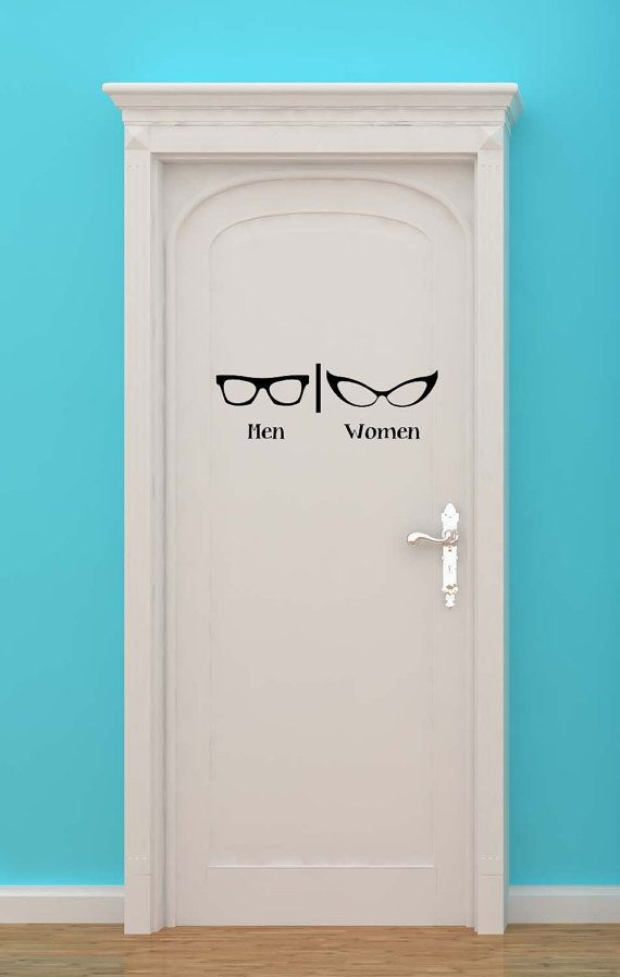 Bathroom, Restrooms, Sign, Men, Women, Optometrist, Eye Doctor, Glasses, Decal, Vinyl, Sticker, Wall Art, home decor