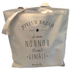 """Tote-Bag réversible écru"""" Joyeux bazar d'une Nounou trop géniale"""""""