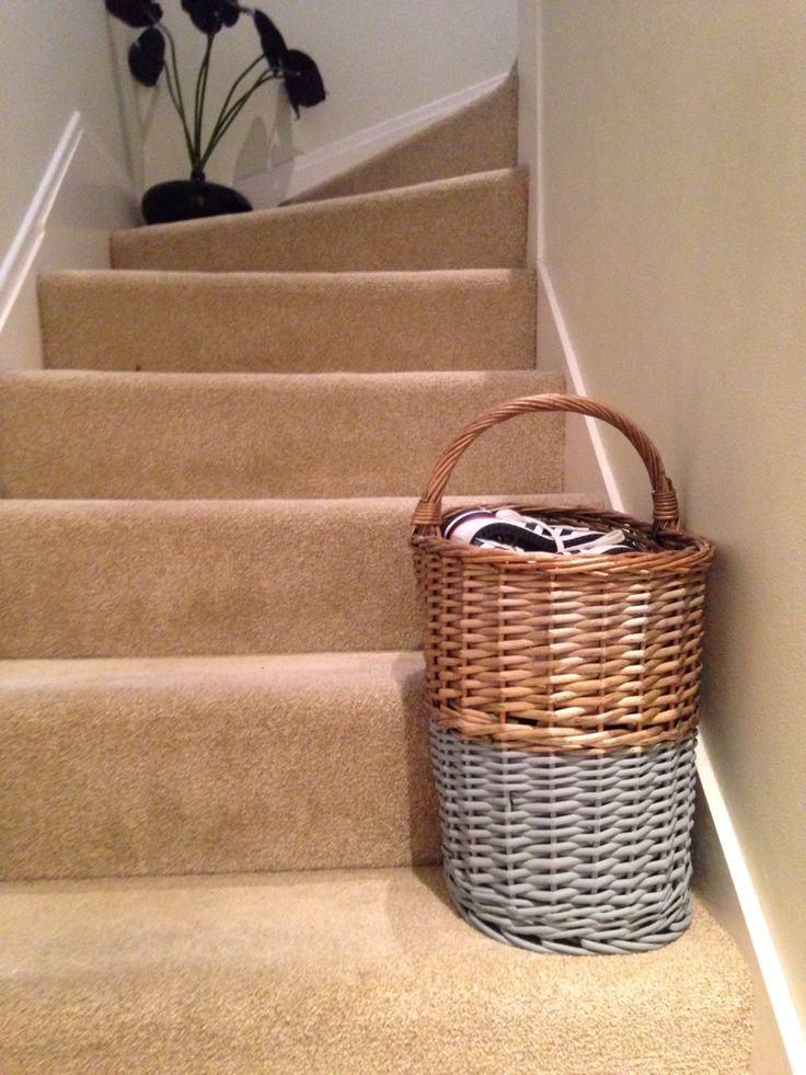 Spray painted rattan stair basket.