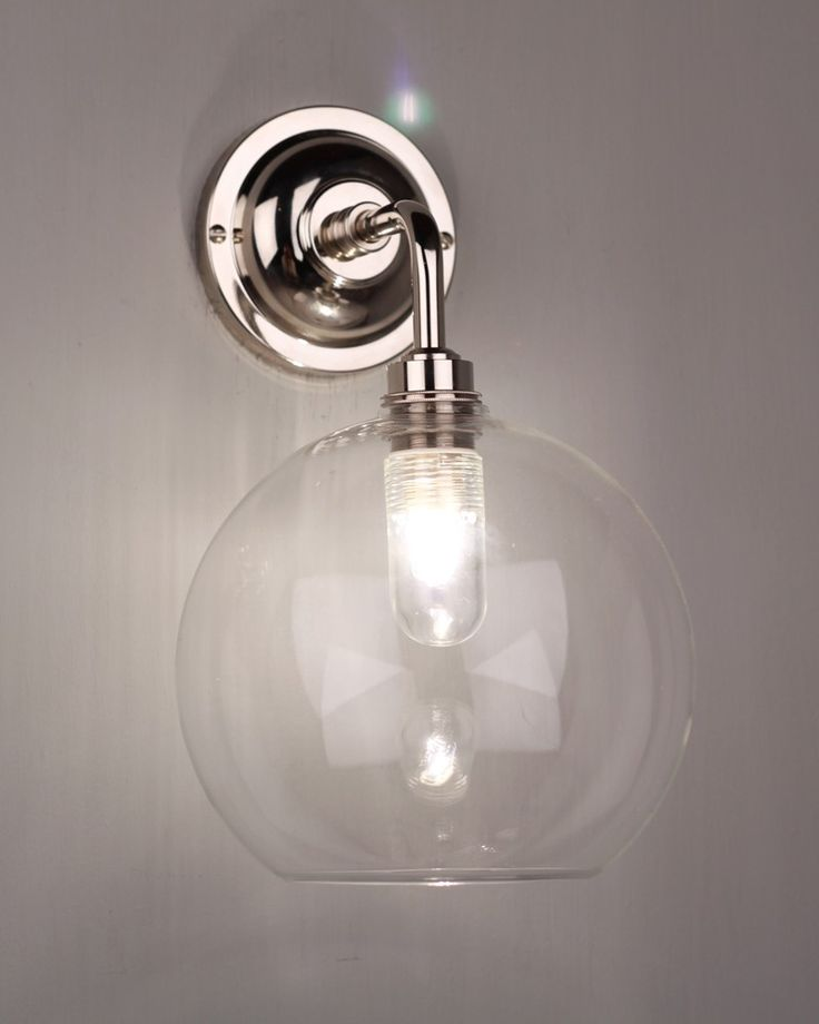 globe light hereford clear glass globe contemporary bathroom wall light ip44 rated applique salle de bainsalle - Applique De Salle De Bain Globe