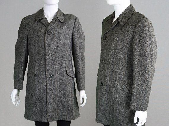 f1cd27bef0b Vintage Mens Overcoat Grey Tweed Coat Brown Stripe Mod Coat Trench Coat  Long Coat Wool Coat Mens Large Mens Outerwear Raincoat Winter Jacket | Shop  | Tweed ...
