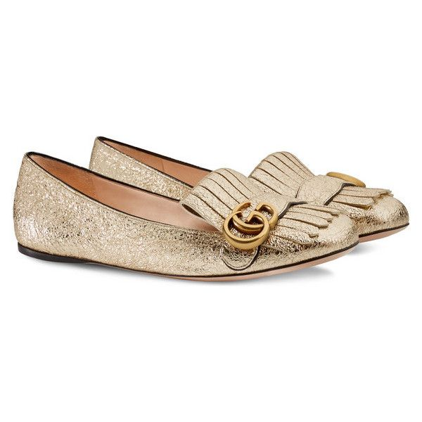 Gucci Metallic Leather Ballet Flat ($695) ❤ liked on Polyvore featuring shoes, flats, metallic flats, flat pumps, ballet flats, leather shoes and gucci flats