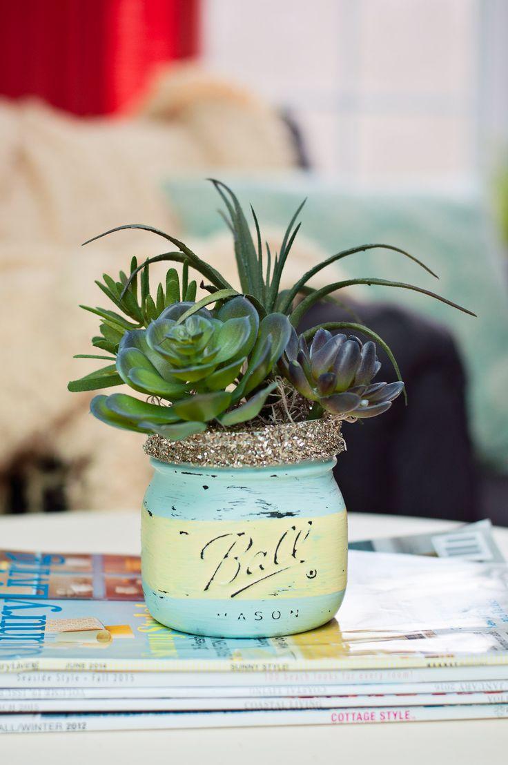 Spring craft – DIY mason jar succulents