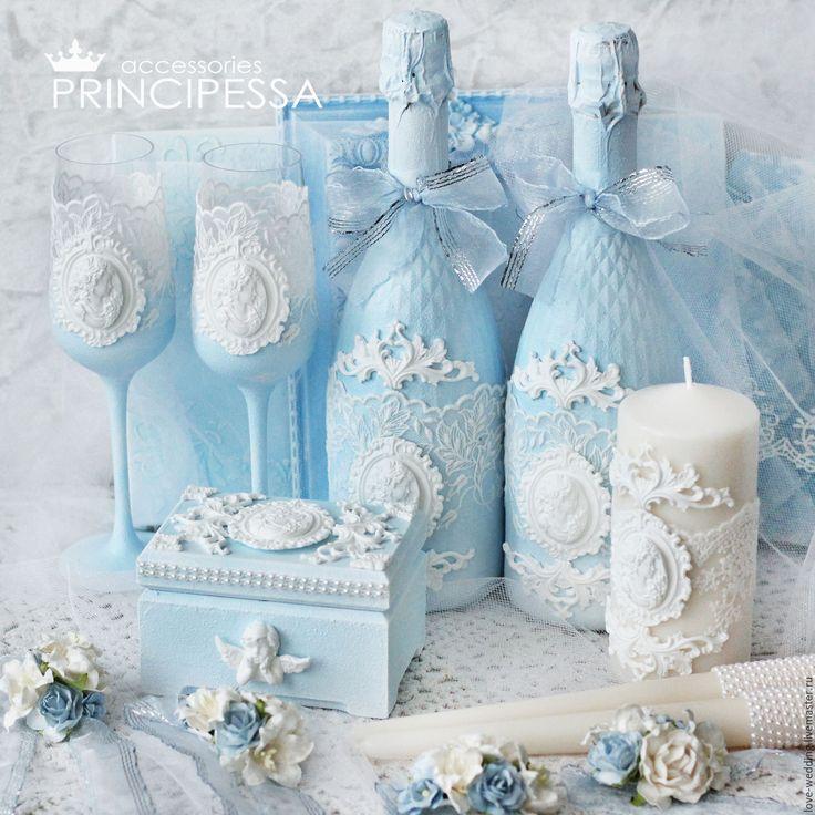 """Купить """"Голубые узоры"""" свадебный набор - голубой, аксессуары, Аксессуары handmade, аксессуары для фотосессий"""