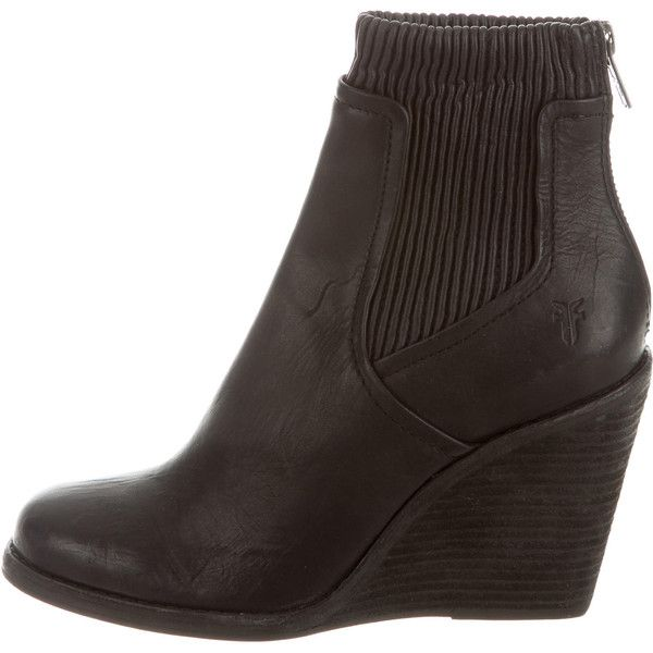 Pre-owned Frye Leather Wedge Ankle Boots ($145) ❤ liked on Polyvore featuring shoes, boots, ankle booties, black, wedge bootie, wedge ankle boots, black booties, leather ankle boots and black wedge booties