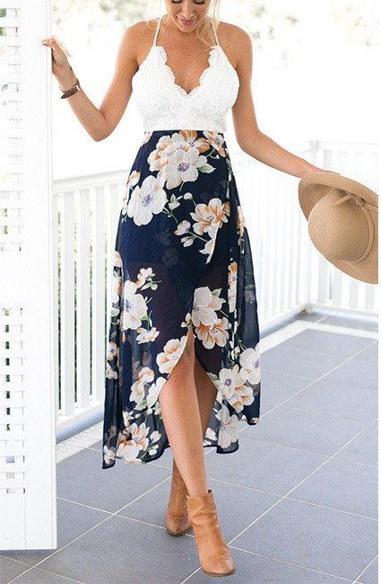 Lace Top Floral Maxi Dress – Untwine It