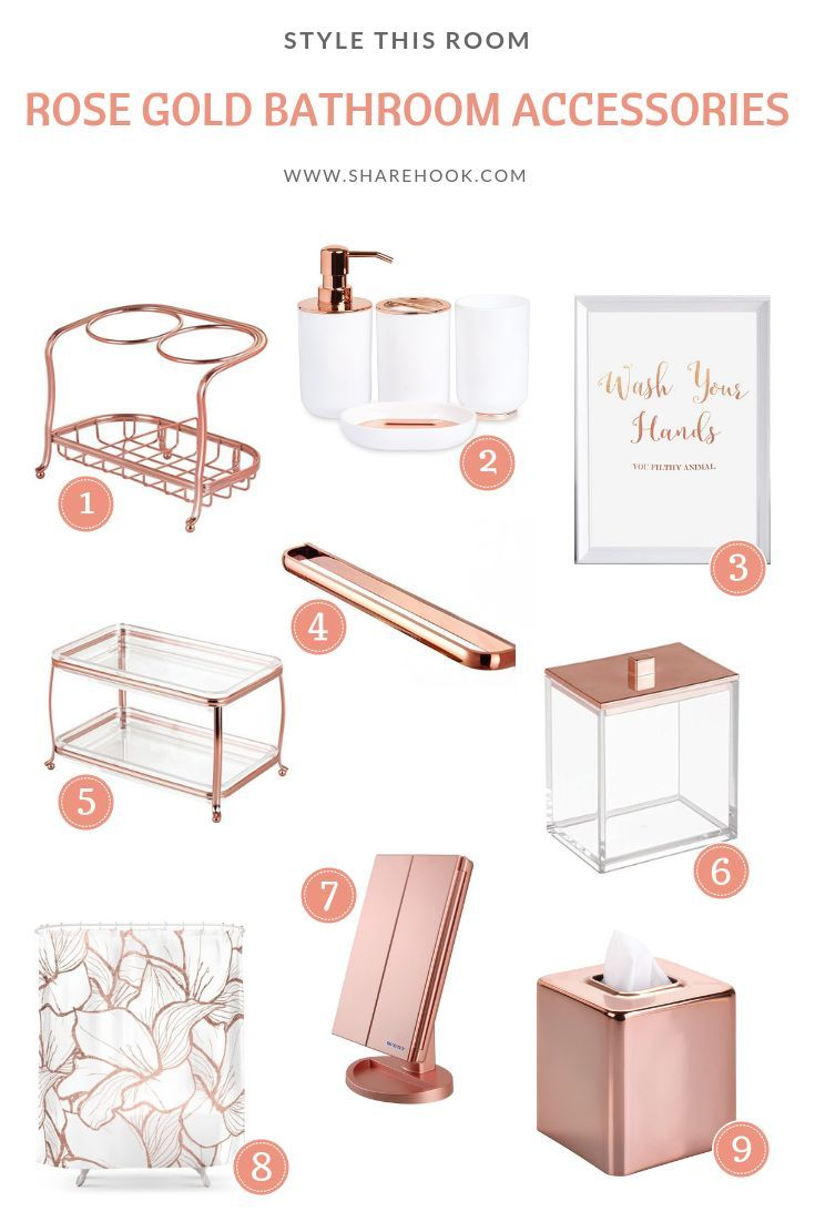 Rose Gold Bathroom Accessories With Images Gold Bathroom Decor