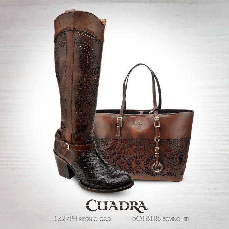 El dúo perfecto #CUADRA #Botas #Bolsa #Exotic #Leather #Elegancia #Boots #Bag #MyStyle